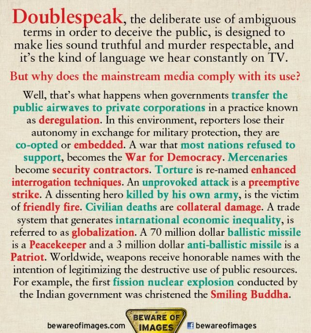 Examples of doublespeak in the modern media