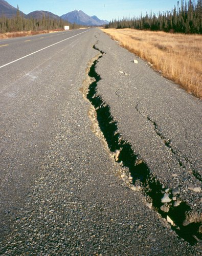 A cracked road in the Yukon